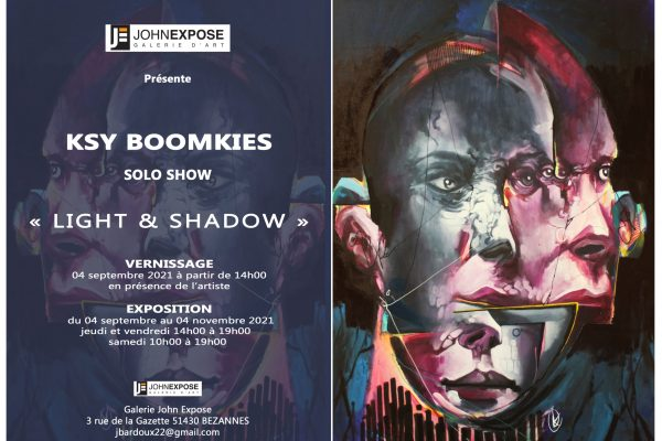 Expo solo ksy boomkies Light and Shadow 2021. Flyers : Vinvent Honrion DVH production, Celine Prunas.